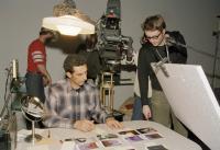 FEAR X, (aka INSIDE JOB), John Turturro, director Nicolas Winding Refn, on set, 2003. ©Silver Nitrate Releasing