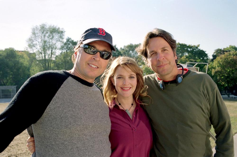 FEVER PITCH, director Bobby Farrelly, Drew Barrymore, director Peter Farrelly on set, 2005, TM & Copyright (c) 20th Century Fox Film Corp. All rights reserved.
