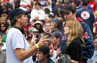 FEVER PITCH, director Peter Farrelly, Drew Barrymore, Jimmy Fallon on set at Fenway Park, 2005, TM & Copyright (c) 20th Century Fox Film Corp. All rights reserved.