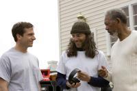 EVAN ALMIGHTY, Steve Carell, director Tom Shadyac, Morgan Freeman, on set, 2007. ©Universal