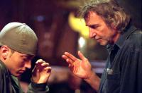8 MILE, Eminem, director Curtis Hanson on the set, 2002, (c) Universal