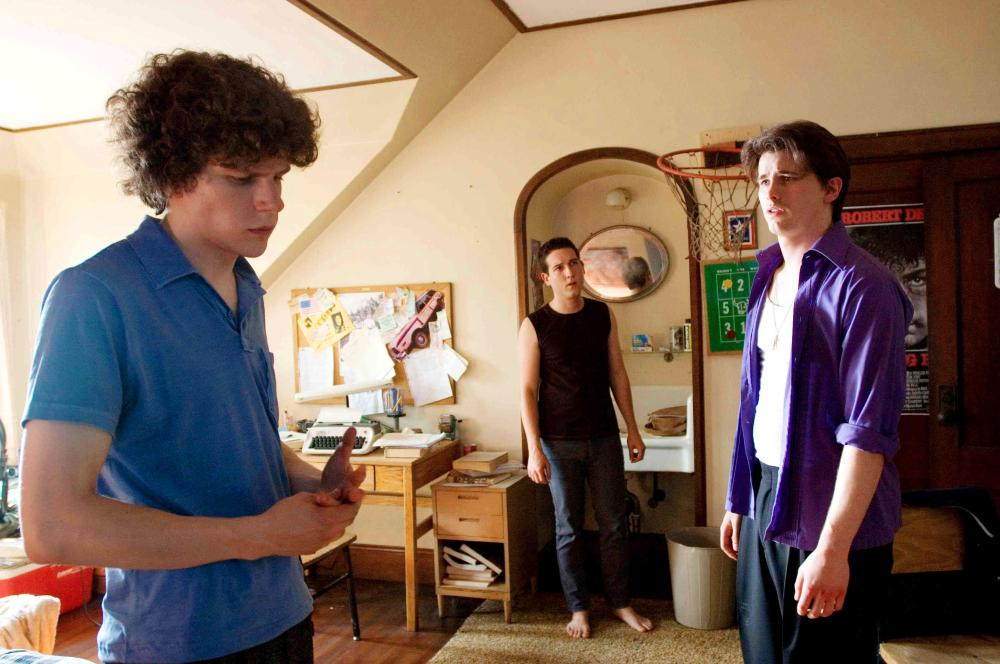 THE EDUCATION OF CHARLIE BANKS, from left: Jesse Eisenberg, Chris Marquette, Jason Ritter, 2007. ©Anchor Bay Entertainment