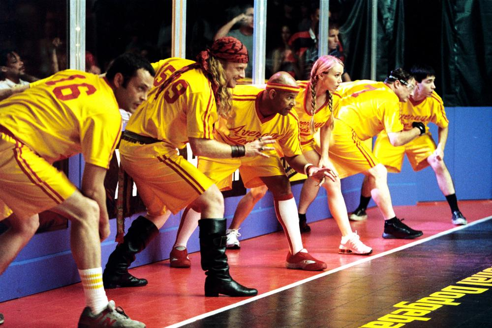 DODGEBALL: A TRUE UNDERDOG STORY, Vince Vaughn, Alan Tudyk, Christopher Williams, Christine Taylor, Stephen Root, Justin Long, 2004, TM & Copyright (c) 20th Century Fox Film Corp. All rights reserved.