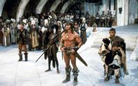 CONAN THE DESTROYER, front from left: Tracey Walter, Grace Jones, Arnold Schwarzenegger, Mako, 1984, © Universal