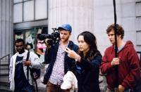 CONVENTIONEERS, director Mora Stephens (second from right), on set, 2005. ©Cinema Libre
