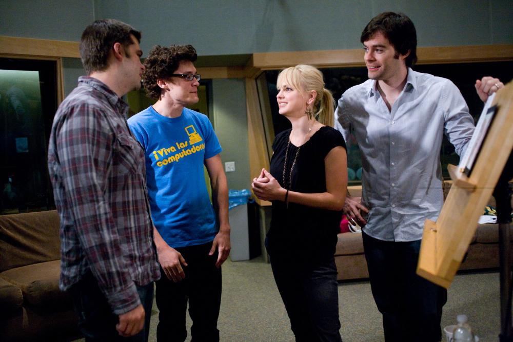 CLOUDY WITH A CHANCE OF MEATBALLS, director Phil Lord, director Chris Miller, Anna Faris, Bill Hader, on set, 2009. ©Sony Pictures