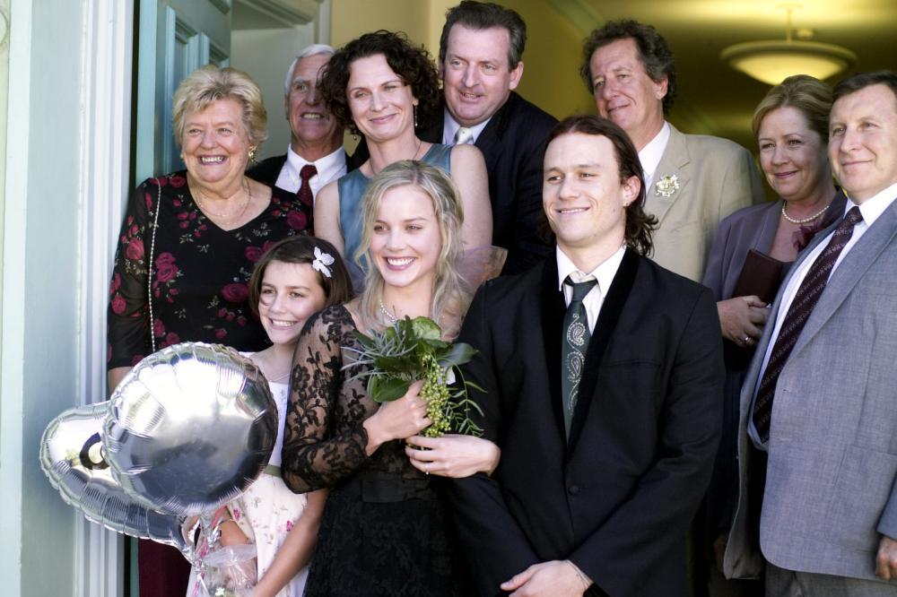 CANDY, Abbie Cornish, Heath Ledger, Geoffrey Rush (rear), 2006, (c) Think Film