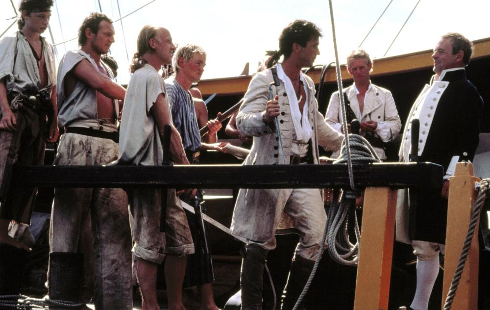 THE BOUNTY, Dexter Fletcher, Liam Neeson, Mel Gibson (center), Anthony Hopkins (right), 1984, (c) Orion