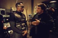 BLADE II, Wesley Snipes, director Guillermo del Toro on the set, 2002 (c) New Line,