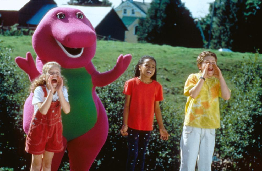 BARNEY'S GREAT ADVENTURE, (aka BARNEY'S GREAT ADVENTURE: THE MOVIE), from left: Diana Rice, Barney, Kyla Pratt, Trevor Morgan, 1998. ©Polygram Filmed Entertainment