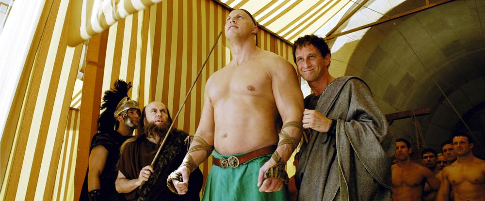 ASTERIX AT THE OLYMPIC GAMES, (aka ASTERIX AUX JEUX OLYMPIQUES), Santiago Segura (second from left), Nathan Jones (second from right), Benoit Poelvoorde as Brutus, 2008. ©Pathe Distribution