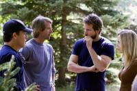 THE AMITYVILLE HORROR, producer Brad Fuller, producer Michael Bay, Ryan Reynolds, Melissa George, on set, 2005, (c) MGM