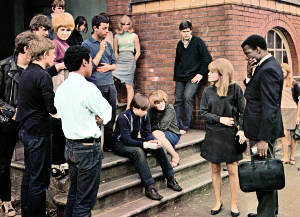 TO SIR WITH LOVE, (l-r): Anthony Villaroel, Christian Roberts (3rd from l), Gareth Robinson, Lulu, Lynn Sue Moon (rear),  Roger Shepherd (against wall), Judy Geeson, Sidney Poitier, 1967