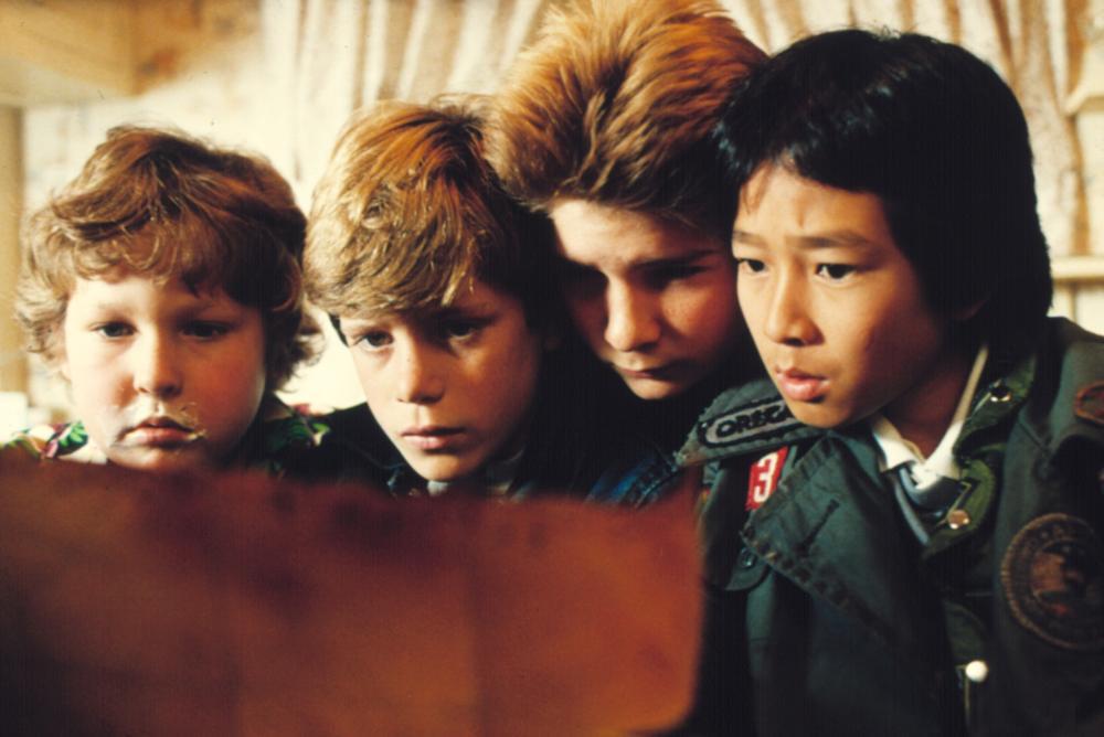 THE GOONIES, Jeff Cohen, Sean Astin, Corey Feldman, Jonathan Ke Quan, 1985