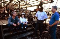 NO ESCAPE, Lance Henriksen, Ernie Hudson, director Martin Campbell, 1994, candid on set
