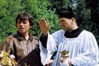 WE'RE NO ANGELS, Director Neil Jordan and Robert De Niro, 1989.