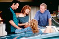 THELMA & LOUISE, Michael Madsen, Susan Sarandon, Geena Davis, director Ridley Scott, on set, 1991. ©MGM