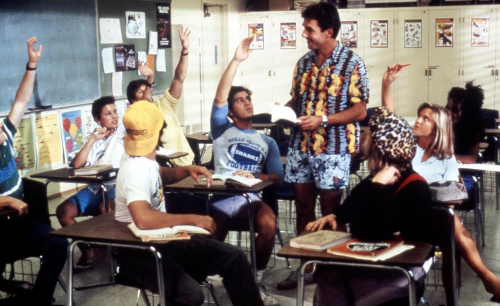 SUMMER SCHOOL, Patrick Labyorteaux (Jock), Mark Harmon (Ctr), Courtney Thorne-Smith, 1987. (c) Paramount Pictures.