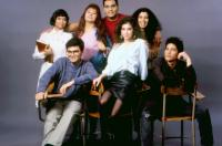 STAND AND DELIVER, left to right:  Vanessa Marquez, Patrick Baca, Ingrid Oliu, Will Gotay, Karla Montana, Lydia Nicole, Mark Eliot, 1988. © Warner Bros. /