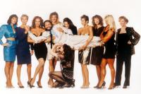 SKIN DEEP, L-R Chelsea Field, Denise Crosby, Diana Barton, John Ritter, Brenda Strong, Brenda Swanson, Heidi Paine, Julianne Phillips, Raye Hollit, Alyson Reed, and Jean Marie McKee (bottom), 1989.