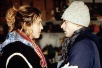 SERIES 7, 2001; Brooke Smith discusses a scene with director Daniel Minahan on the set of his film SERIES 7.