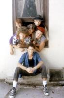 SECRET ADMIRER, (l-r rear): Rodney Pearson, Courtney Gaines, Jeffrey Jay Cohen, Geoffrey Blake, Casey Siemaszko, (front): C. Thomas Howell, 1985, (c)Orion Pictures
