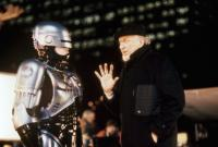 ROBOCOP 2, Peter Weller, director Irvin Kershner, on set, 1990. ©Orion Pictures Corp