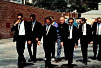 RESERVOIR DOGS, Michael  Madsen, Quentin Tarantino, Harvey Keitel, Christopher Penn, Lawrence Tierney, Tim Roth, Steve Buscemi, Edward Bunker, 1992. (c) Miramax Films.