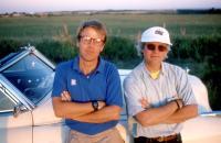 RAIN MAN, producer Mark Johnson, director Barry Levinson, on set, 1988. ©United Artists/.