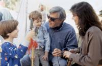 RADIO FLYER, Elijah Wood, Joseph Mazzello, director Richard Donner, producer Lauren Shuler Donner, on set, 1992. (c)Columbia Pictures