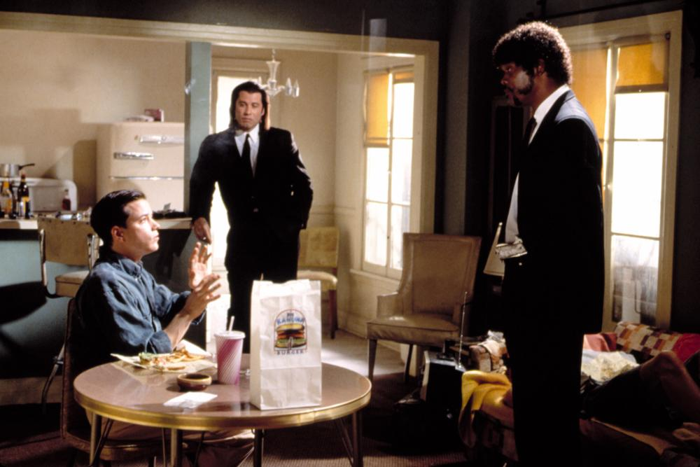 PULP FICTION, John Travolta, Samuel L. Jackson, Frank Whaley, 1994