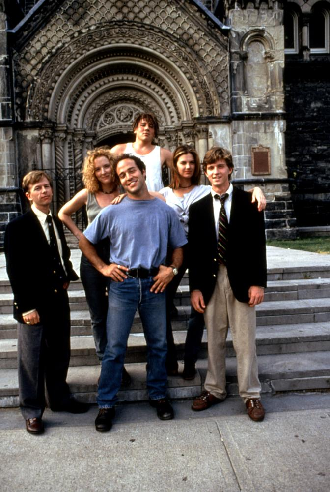 PCU, (front): David Spade, Sarah Trigger, Jeremy Piven, Megan Ward, Chris Young, (rear): Jon Favreau, 1994. TM and Copyright ©20th Century Fox Film Corp. All rights reserved.