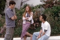 ORANGE COUNTY, Colin Hanks, Schuyler Fisk, director Jake Kasdan, on set, 2002. ©Paramount.