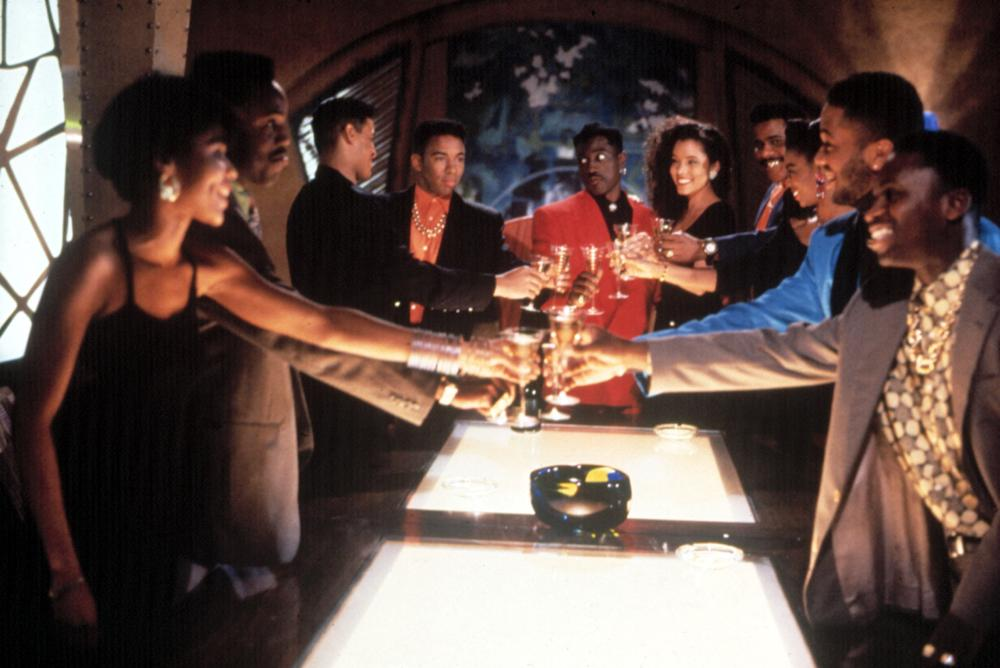 NEW JACK CITY, Vanessa P. Williams, Allen Payne, Wesley Snipes (center), Michael Michele, Bill Nunn, 1991, (c)Warner Bros.