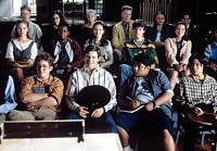 D3: THE MIGHTY DUCKS, (Front Row, L-R), Matt Doherty, Ty O'Neal, Shaun Weiss, Justin Wong, (Center, L-R), Colombe Jacobsen, Kenan Thompson, Joshua Jackson, Marguerite Moreau, etc, 1996.