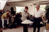 MAN TROUBLE, director Bob Rafelson (r.) on set, 1992, TM and Copyright (c)20th Century Fox Film Corp. All rights reserved.