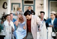 THE MARRYING MAN, from left: Fisher Stevens, Steve Hytner, Kim Basinger, Alec Baldwin, Peter Dobson, Paul Reiser, 1991. ©Buena Vista Pictures.