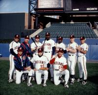 MAJOR LEAGUE, Steve Yeager (back left), James Gammon (back 2nd from Left), Dennis Haysbert (back center), Wesley Snipes (3rd from right), (front L-R) Tom Berenger, Charlie Sheen, Corbin Bernsen, 1989. (c) Paramount Pictures.