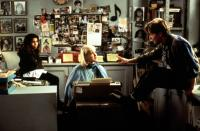 LIFE WITH MIKEY, Christina Vidal, Cyndi Lauper, Michael J. Fox, 1993, in the agent's office