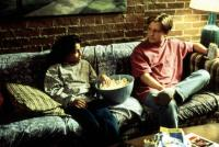 LIFE WITH MIKEY, Christina Vidal, Michael J. Fox, 1993, relaxing on the futon