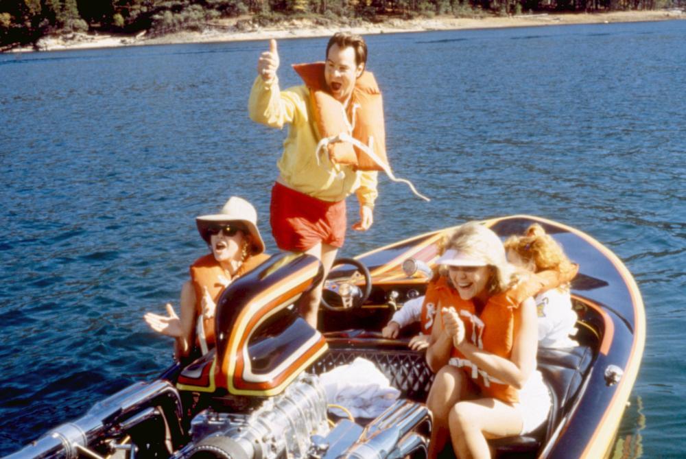 THE GREAT OUTDOORS,   Annette Bening, Dan Aykroyd, Stephanie Faracy, Hilary Gordon (obscured background center), Rebecca Gordon (obscured right),  1988. ©Universal