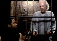 GHOSTS OF MARS, Ice Cube, director John Carpenter, on set, 2001. (c)Screen Gems