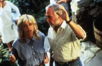 EXTREMITIES, Farrah Fawcett, director Robert M. Young on set, 1986, (c) Atlantic Releasing