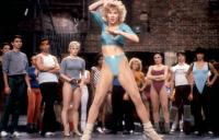 A CHORUS LINE, Nicole Fosse (gray leotard, left of center), Michelle Johnston (foreground, center), 1985. ©Columbia Pictures