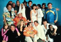 CANNONBALL RUN, THE, (top row): Peter Fonda, Jamie Farr, Bert Convy, Adrienne Barbeau, Michael Hui, Rick Aviles, Warren Berlinger, (front row): Tara Buckman, Dean Martin, Dom DeLuise, Farrah Fawcett, Burt Reynolds, Roger Moore, Jackie Chan, Sammy Davis Jr.