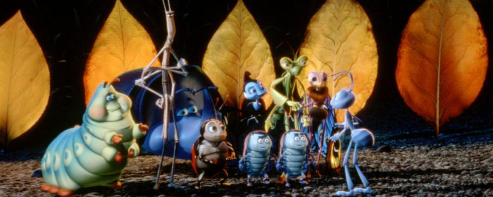 A BUG'S LIFE, (foreground, L-R), Heimlich (voice: Joe Ranft), Slim (voice: David Hyde Pierce), Francis (Nick Jameson), Rosie (voice: Bonnie Hunt), Flik (extreme right, voice: Dave Foley), 1998. ©Buena Vista Pictures