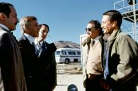 BLUE THUNDER, Malcolm McDowell (second from left), Paul Roebling (3rd from left), Roy Scheider (far right), 1983, (c)Columbia Pictures