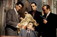 BLAME IT ON THE BELLBOY, Andreas Katsulas, Dudley Moore (seated), Alex Norton, Jim Carter, 1992. ©Hollywood Pictures
