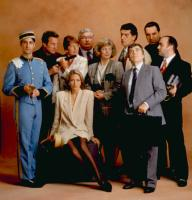 BLAME IT ON THE BELLBOY, back row, l-r: Bryan Brown, Richard Griffiths, Andreas Katsulas, Alex Norton, front, l-r: Bronson Pinchot, Penelope Wilton, Alison Steadman, Dudley Moore, Jim Carter, seated: Patsy Kensit, 1992. ©Buena Vista Pictures