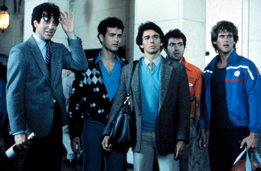 BACHELOR PARTY, William Tepper, Tom Hanks, Adrian Zmed, Bradford Bancroft, Michael Dudikoff, 1984.TM and Copyright © 20th Century Fox Film Corp. All rights reserved..